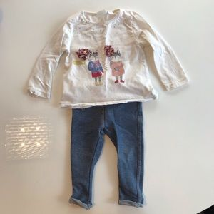 Zara baby girls long sleeve t-shirt & jeggings